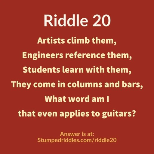 Answer to Stumpedriddles.com/riddle20