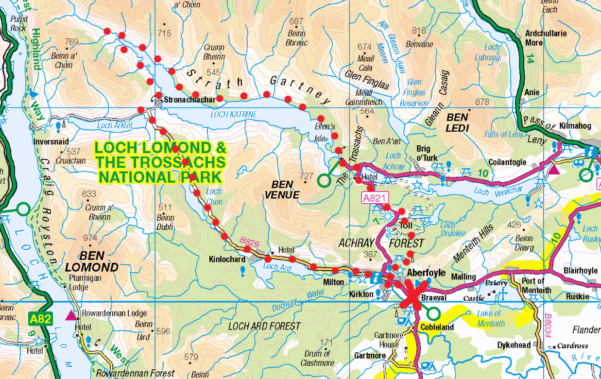 loch katrine cycling map