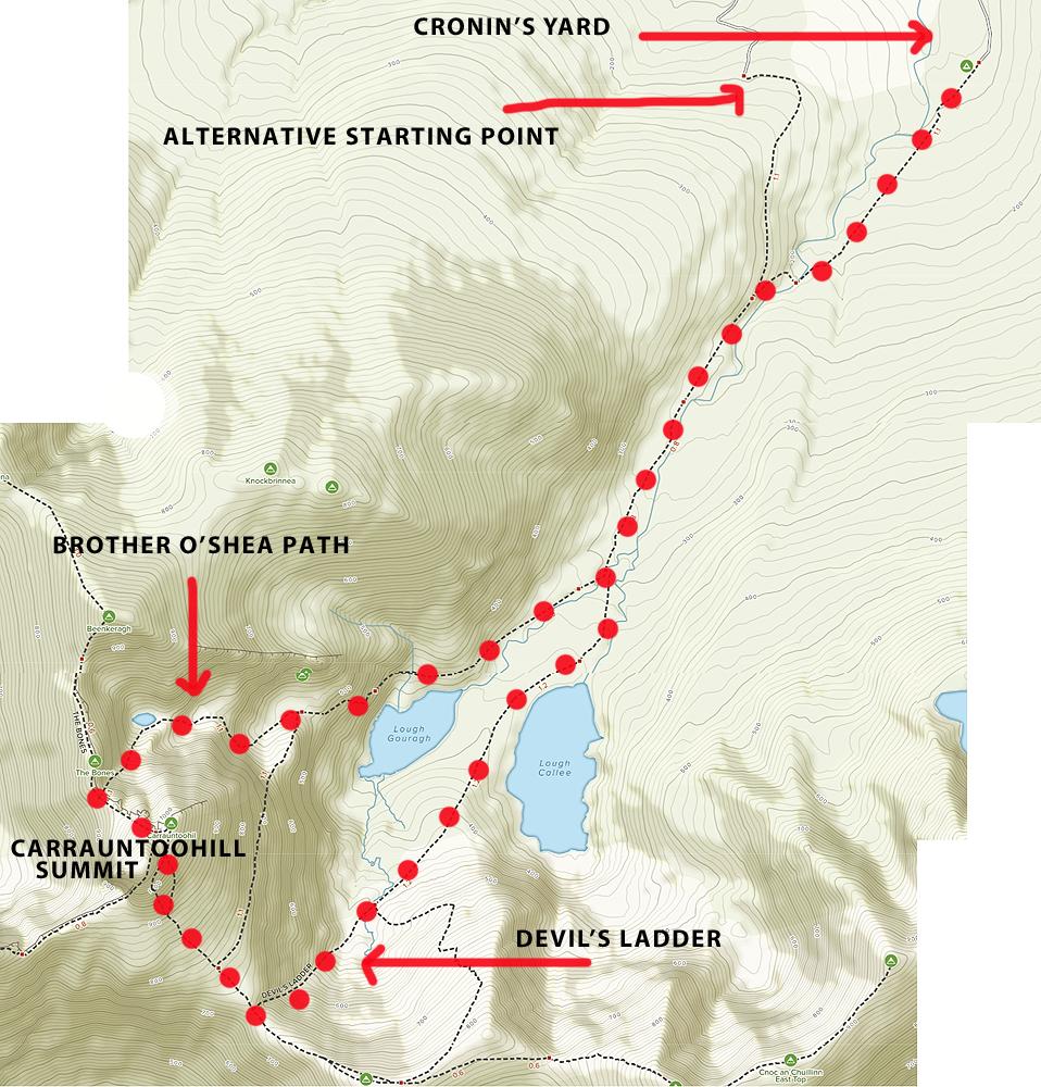 CARRAUNTOOHILL ROUTE MAP
