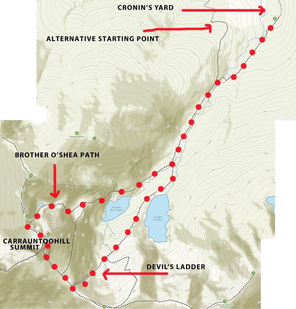 CARRAUNTOOHILL ROUTE MAP