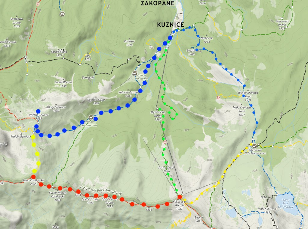 Hiking Giewont and Kasprowy Wierch map