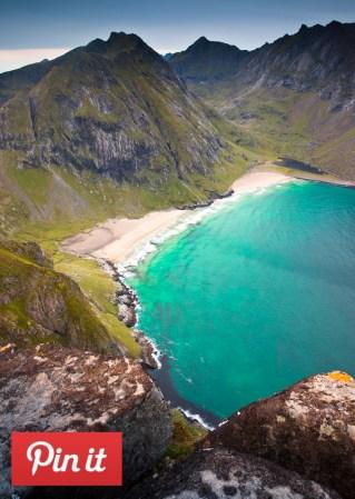 Ryten Kvalvika Beach Lofoten hike pinteres