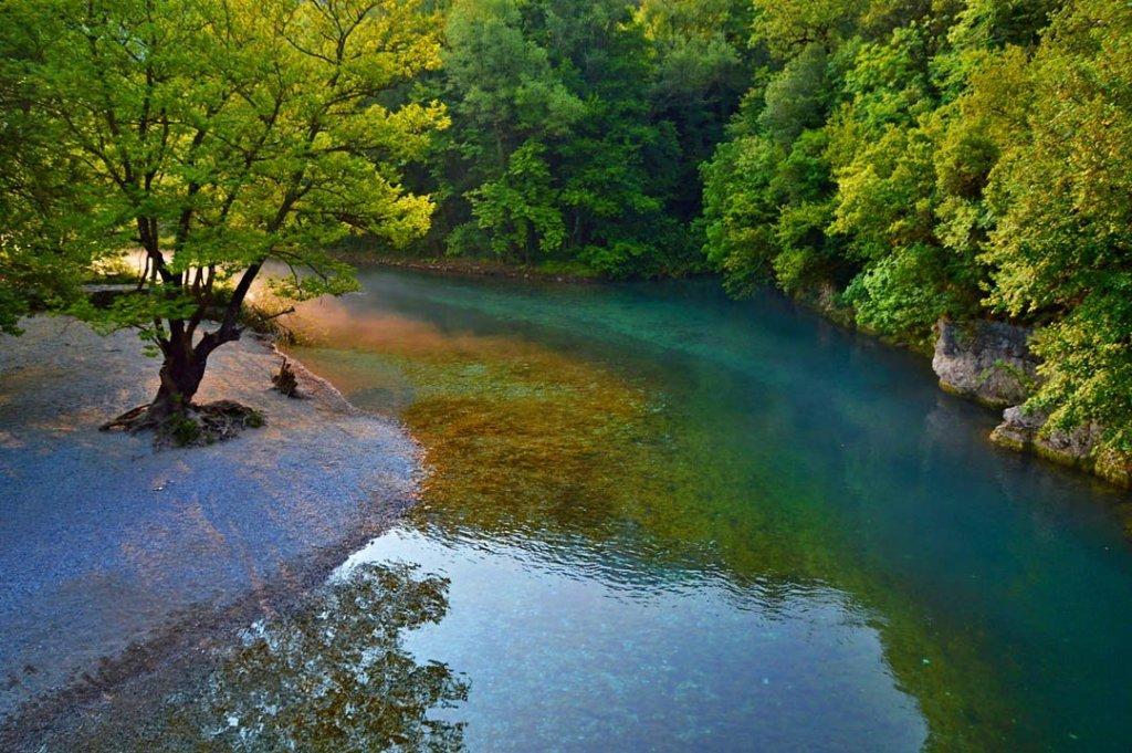Morning at Voidomatis River in Zagori, Greece