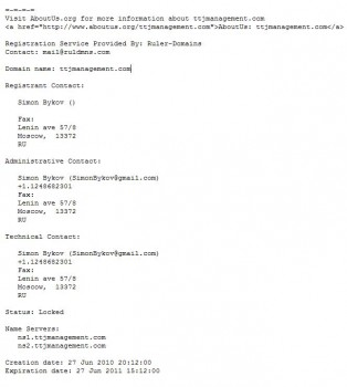 Pic of TTJ Property Management WhoIs info.