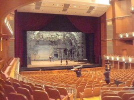 The stage getting ready for Swan Lake