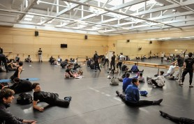 """Company class in the """"big studio"""" - very hard for our dancers because it has a rake of 5%!"""