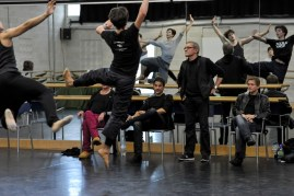 Reid Anderson, Tamas Detrich and Krzysztof Nowogrodzki rehearsing Taming of the Shrew in the studio