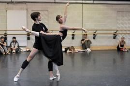 Elisa Badenes and David Moore rehearsing Taming of the Shrew in the studio