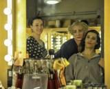 Final preparations: Make-up artist Luisa Böcherer with Brent Parolin and Roland Havlica