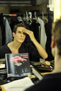 Evan McKie in his dressing room getting ready for the performance on Monday.