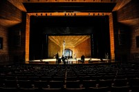 Load in and set up on the stage of the Thailnad Cultural Center