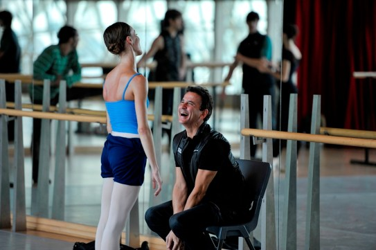 In the studio: Tamas Detrich and Anna Osadcenko enjoy a laugh during rehearsal