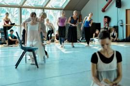 Elisa Badenes as Olga, Marijn Rademaker as Lensky, Elisabeth Wisenberg, Angelika Bulfinsky, Katarzyna Kozielska with Miiriam Kacerova rehearsing the first act