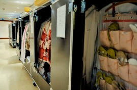 At the theatre: the costume department was very busy on the first day unpacking the costumes.