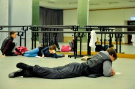 Before class on Wednesday afternoon in the studio 1 of the Royal Opera House: Alexander Jones, Miriam Kacerova, Julie Marquet