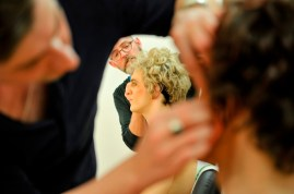Petrucchio's servants (Ludovico Pace and Fabio Adorisio) are getting their hair doneby Jörg Müller and Roman Rädcher.