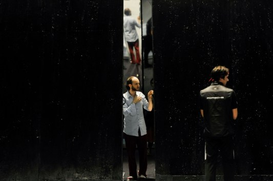 Sidi Larbi Cherkaoui on the stage with the sets by Willy Cessa