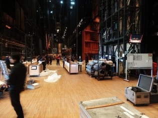 Arrival at the Hyogp Performing Arts Center: the technical staff is unloading the sets etc.