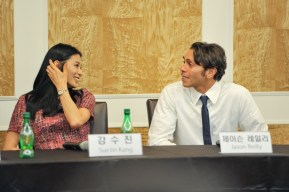 Sue Jin Kang and Jason Reilly at the press conference.
