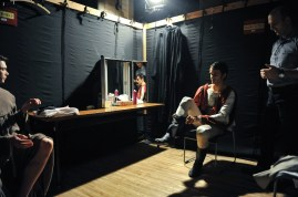Constantine Allen prepares for third act in the quick change booth with Louis Stiens and dresser Alain Balloy