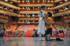 Miriam Kacerova and Constantine Allen rehearse Romeo and Juliet.