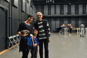 On our last day of the tour, we had a young guest watching class: 6-year old Yuga was very impressed by the dancers! He met Reid Anderson ...