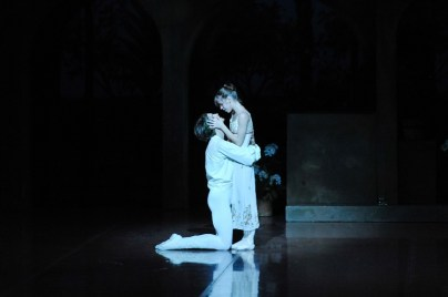Stage rehearsal for our second performance: Elisa Badenes as Juliet and David Moore as Romeo