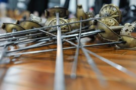 The swords are waiting for a rehearsal