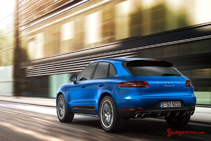 2013 LA Auto Show Porsche Macan world debut: The 2015 Porsche Macan in blue, seen here from the left-rear angle, cruising through downtown L.A. Source: PCNA