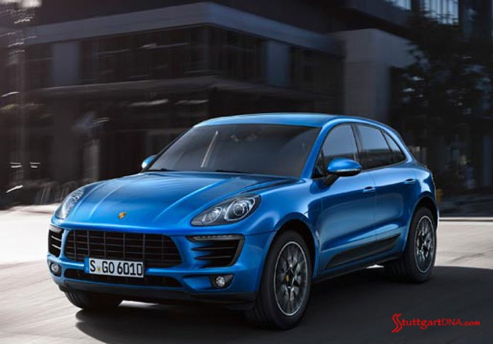 2013 LA Auto Show Porsche Macan world debut: The 2015 Porsche Macan seen from front-left view, cruising around downtown. Source: PCNA