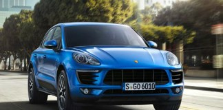2013 LA Auto Show Porsche Macan world debut: The new 2015 Porsche Macan as seen driving the streets of downtown Los Angeles. Credit: PCNA