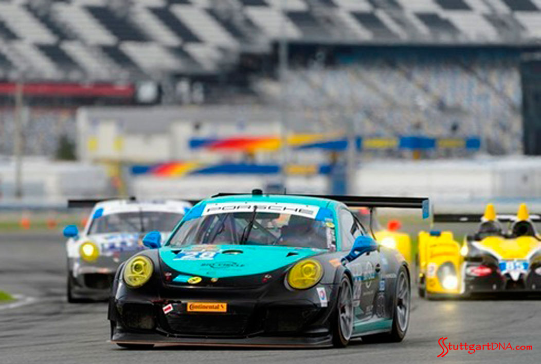 2015 53rd Rolex Daytona 24 has 12 Porsche 911 racecars: The No. 28 911 GT America seen in f.g. in front of the pack at Daytona, qualifying 3rd in 2015. Credit: PMNA