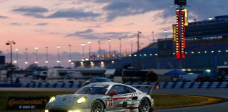 2015 Porsche Night of Champions gala: The No. 911 Porsche North America 911 RSR on the track at Daytona in 2014. Credit: PMNA