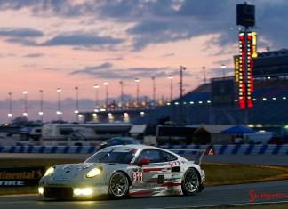 2015 Porsche Night of Champions gala: The No. 911 Porsche North America 911 RSR on the track at Daytona in 2014. Credit: PMNA