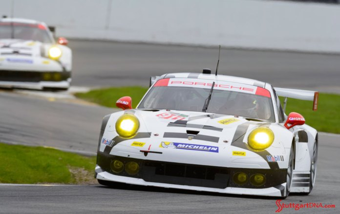 2015 53rd Rolex Daytona 24 has 12 Porsche 911 racecars: Seen here is the Porsche North America 911 RSR dynamic duo on the track at Daytona, prepping for the 24 hours ahead, 2015. Source: PMNA