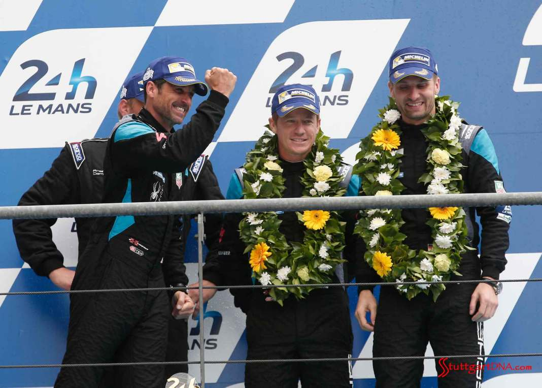 Patrick Dempsey Porsche scores Le Mans second place: Dempsey Proton team celebrating P2 on 2015 Le Mans podum for Porsche. Patrick Dempsey, Patrick Long, Marco Seefried (l-r). Credit: Porsche AG
