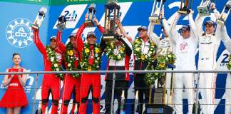 Porsche 919 Hybrids win Le Mans one-two: Porsche 919 drivers, one-two on 2015 Le Mans podium. Porsche Team: Timo Bernhard, Brendon Hartley, Mark Webber, Fritz Enzinger, Leiter LMP1, Nico Huelkenberg, Nick Tandy, Earl Bamber (l-r). Credit: Porsche AG
