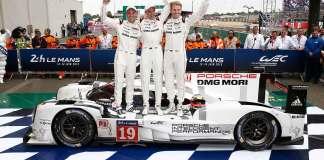 Porsche 919 Hybrid (No. 19), Porsche Team: Nick Tandy, Earl Bamber, Nico Huelkenberg (l-r) celebrating their Le Mans victory. Credit: Porsche AG