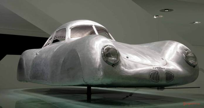 Porsche No 1: 60K10 - Typ 64 - body shell, low-angle, at Porsche Museum Stuttgart. Credit: Porsche AG