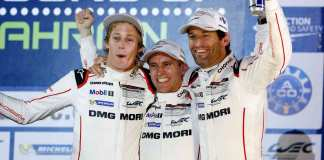Hartley, Bernhard and Webber (l-r) at the top of the 2015 WEC Bahrain podium. Credit: Porsche AG