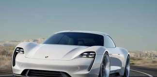 Porsche Mission E Concept Car: Mission E left-front on Mulholland with LA skyline in b.g. Credit: Porsche AG