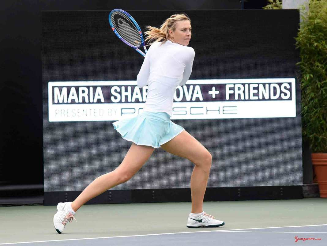 Maria Sharapova and Friends 2015 LA Event: Maria Sharapova on UCLA Tennis Center Court. Credit: Porsche AG