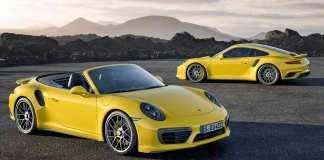 2017 Porsche 911 Turbo and 911 Turbo S: Two yellow 2017 991-2 Turbos. Credit: Porsche AG