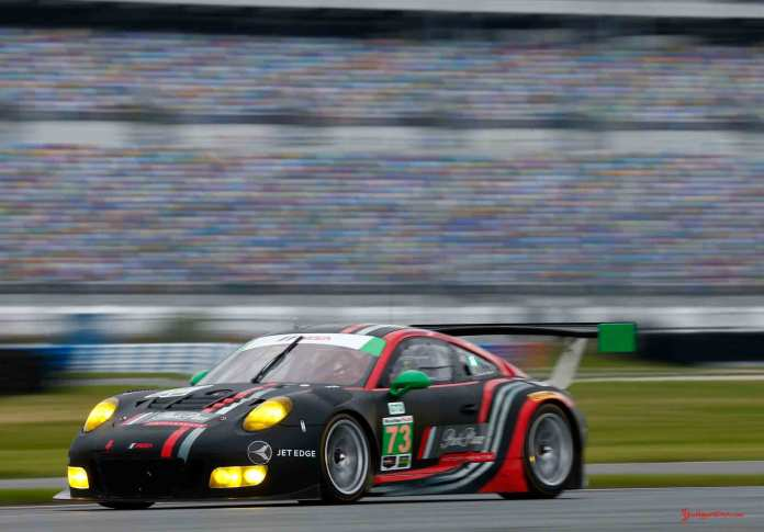 Porsche North America 2016 Post-Roar Report: Park Place Motorsports' 911 GT3 R of Patrick Lindsey, Matthew McMurry and Jörg Bergmeister. Credit: Porsche AG