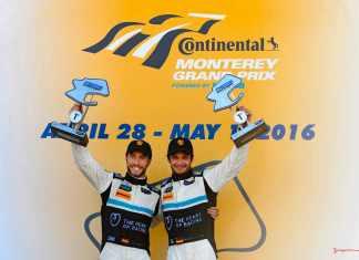 New 2016 Porsche 911 GT3 R wins first race: Alex Riberas (left) and Mario Farnbacher atop the 2016 Laguna Seca podium. Credit: Porsche AG