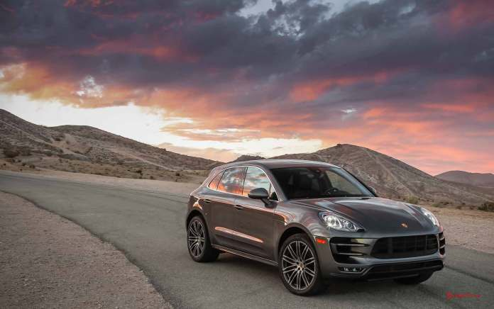 Porsche Certified Pre-Owned (CPO) Program: Macan Turbo right-front at cloudy sunset. Credit: Porsche AG