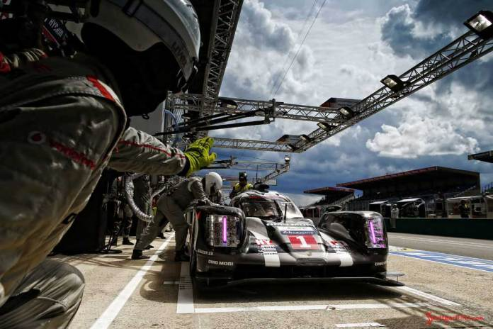 Porsche garners 18th overall win at 84th Le Mans 2016: No. 1 919 in pit at dawn. Credit: Porsche AG