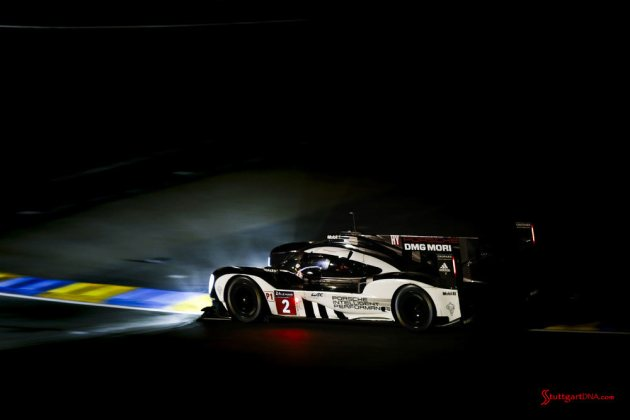 Porsche garners 18th overall win at 84th Le Mans 2016: No. 2 919 on dark track. Credit: Porsche AG