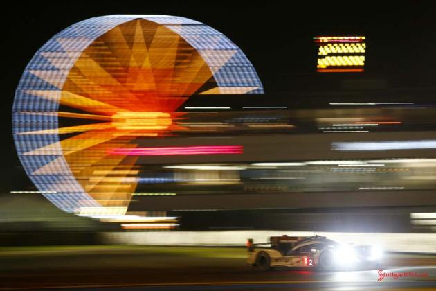 Porsche garners 18th overall win at 84th Le Mans 2016: No. 2 919 with night ferris wheel in bg. Credit: Porsche AG