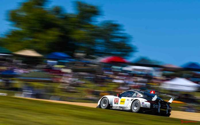 Porsche Works 911 RSR last race: Porsche No. 911 left-side on track - 2016 Petit Le Mans Road Atlanta. Credit: PAG.